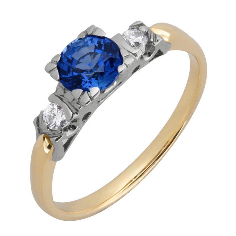 Złoty Pierścionek Z Brylantami I Szafirem Pierścionki Zaręczynowe